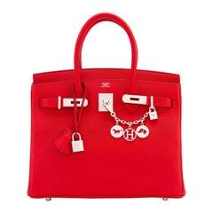 Hermes Rouge Casaque 30cm Epsom Lipstick Red Birkin Palladium Hardware A Stamp