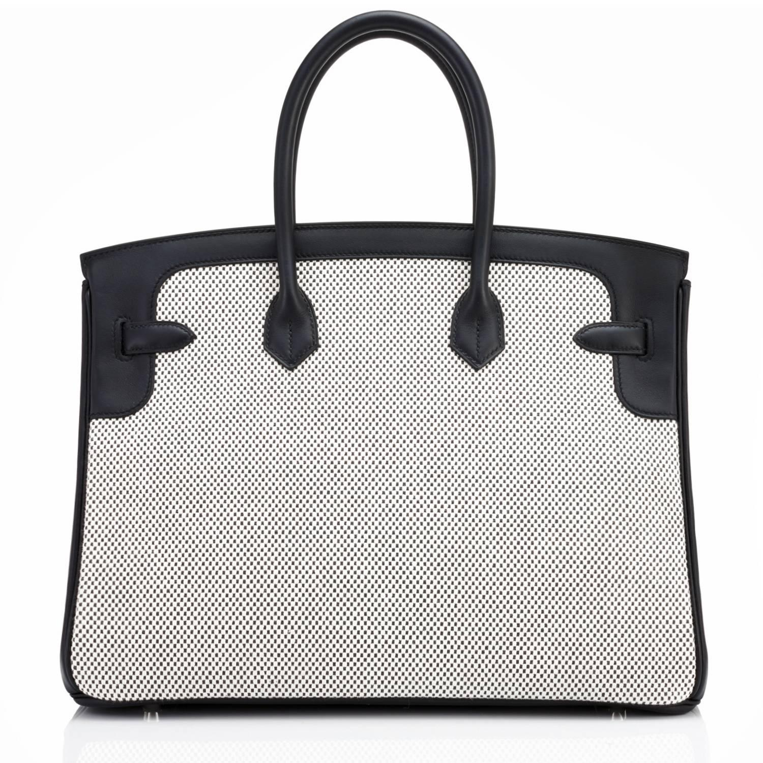14dfa5528918 Hermes Black Swift Leather Criss Cross Ecru Graphite Toile 35cm Birkin For  Sale at 1stdibs