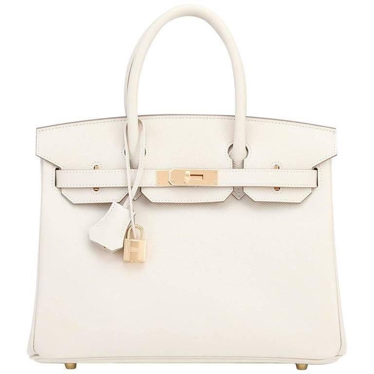Hermes Craie 30cm Epsom Off White Gold Hardware A Stamp Birkin Bag