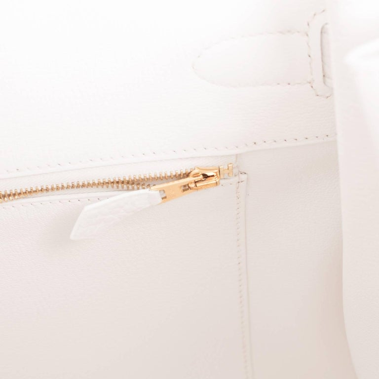 Hermes White 35cm Clemence Birkin Bag Gold Hardware X Stamp For Sale 3