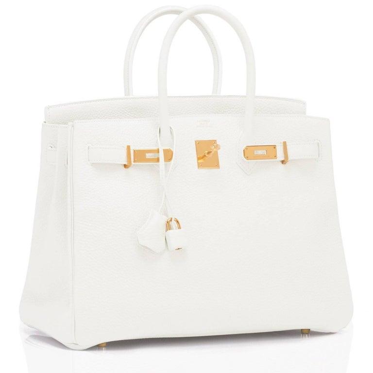 Hermes White 35cm Clemence Birkin Bag Gold Hardware X Stamp For Sale 1