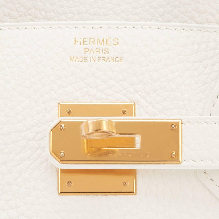 Hermes White 35cm Clemence Birkin Bag Gold Hardware X Stamp For Sale 4