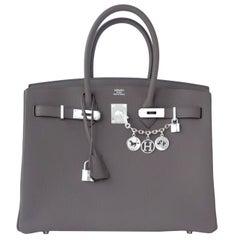 "Hermes Etain 35cm Togo Birkin Bag ""Tin Grey"" Palladium Hardware A Stamp"