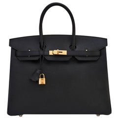 Hermes Birkin 35 Black Gold Hardware Epsom Bag A Stamp