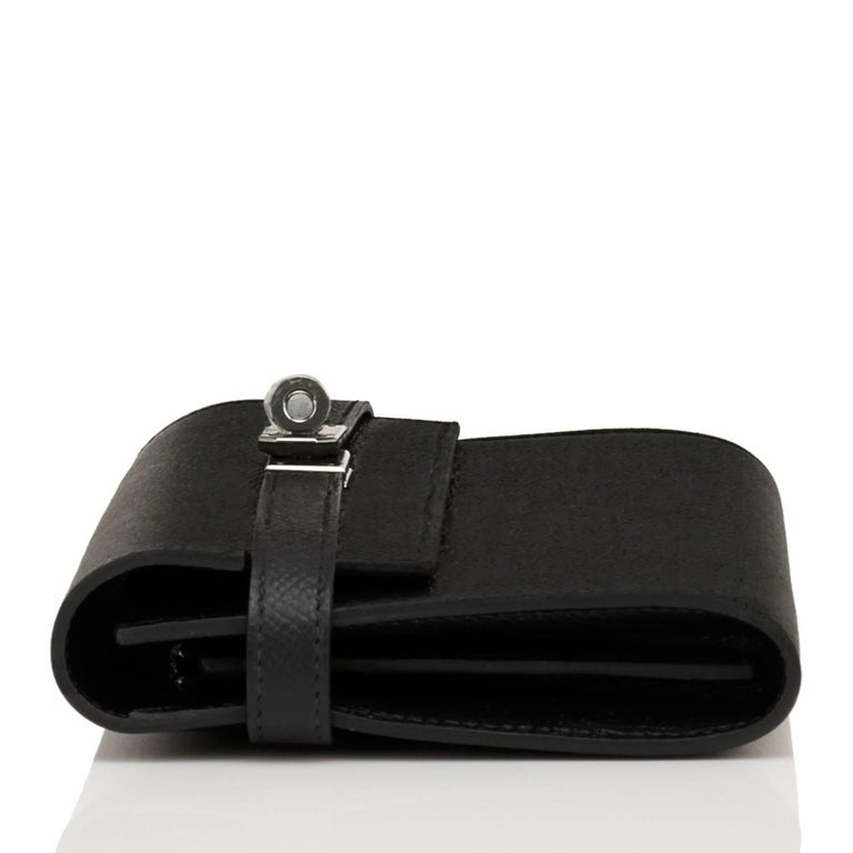 Hermes Black Kelly Wallet Long Epsom Palladium Hardware  5