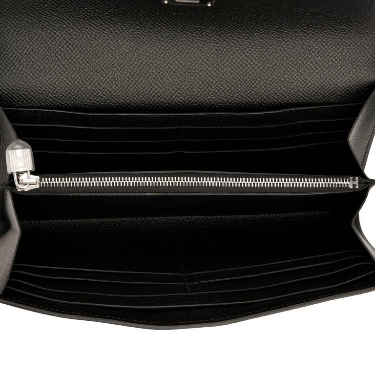 Hermes Black Kelly Wallet Long Epsom Palladium Hardware  6