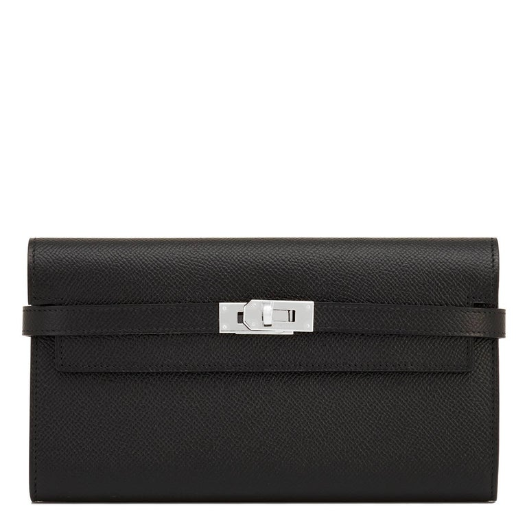 Hermes Black Kelly Wallet Long Epsom Palladium Hardware  8