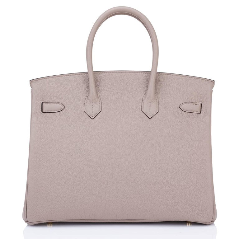 Hermes 35 Gris Asphalte Dove Grey Togo Gold Hardware C Stamp Birkin Bag 5
