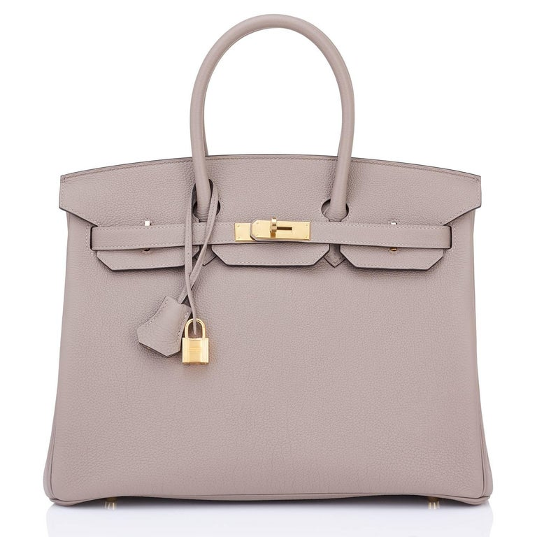 Hermes 35 Gris Asphalte Dove Grey Togo Gold Hardware C Stamp Birkin Bag 3