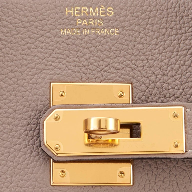 Hermes 35 Gris Asphalte Dove Grey Togo Gold Hardware C Stamp Birkin Bag 10