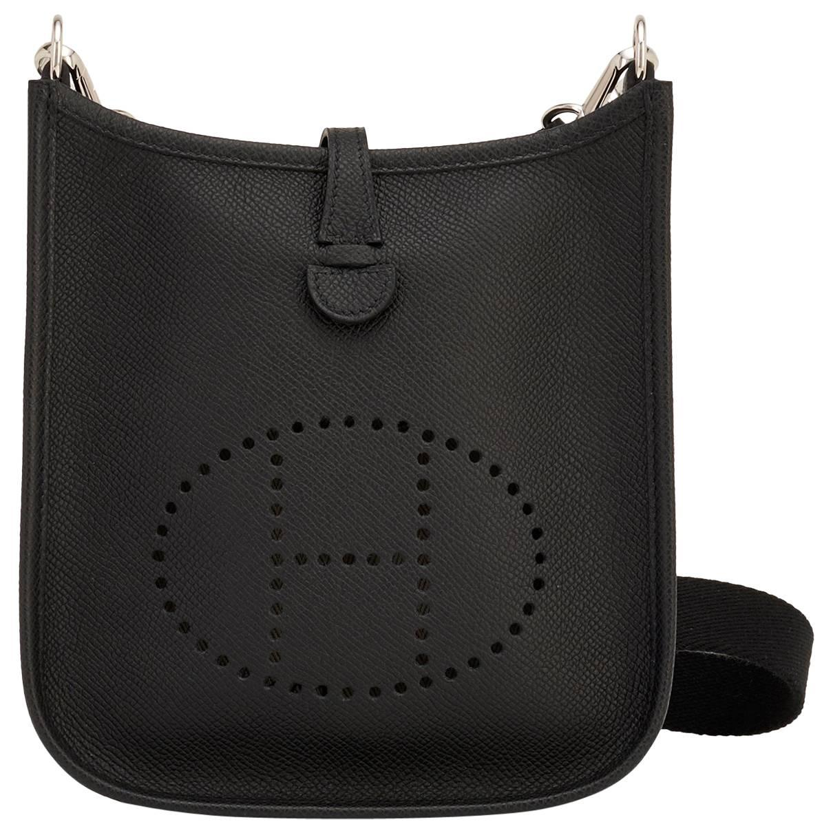 Hermes Black Evelyne TPM Shoulder Cross Body Messenger Bag
