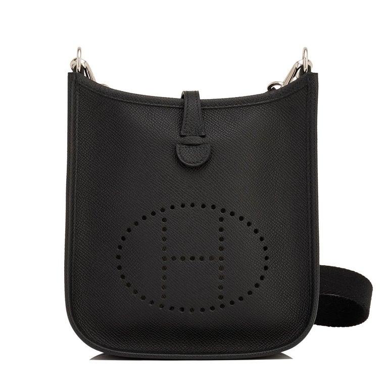 Hermes Black Evelyne TPM Shoulder Cross Body Messenger Bag For Sale 4