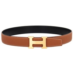 Hermes Belt Kit 85cm Gold Tan and Black Reversible H 32mm Gold Buckle Gift