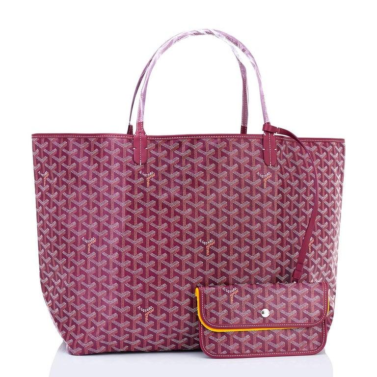 goyard st louis tote burgundy chevron bag gm at 1stdibs