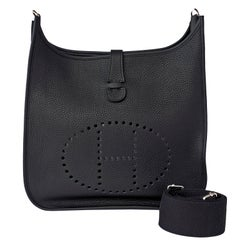 Hermes Black Evelyne GM Clemence Unisex Cross Body Messenger Bag
