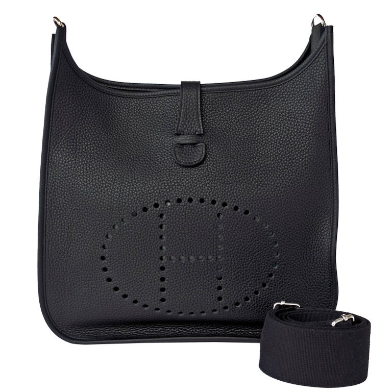 Hermes Black Evelyne Gm Clemence Uni Cross Body Messenger Bag For
