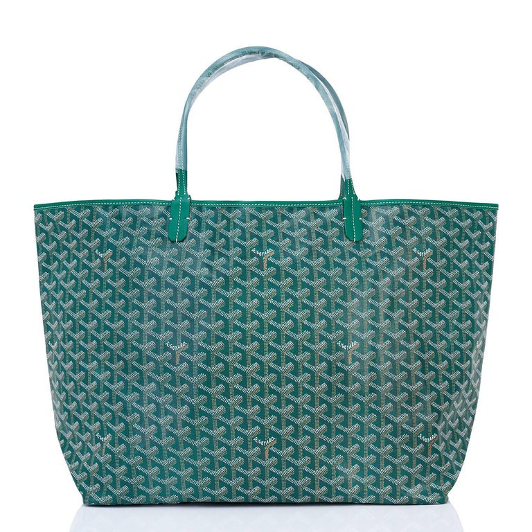 Goyard Tote St Louis Hunter Green Chevron Bag GM In New Condition In New York, NY
