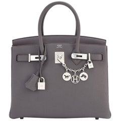 Hermes Birkin 30cm Etain Tin Grey Togo Palladium Hardware Satchel A Stamp