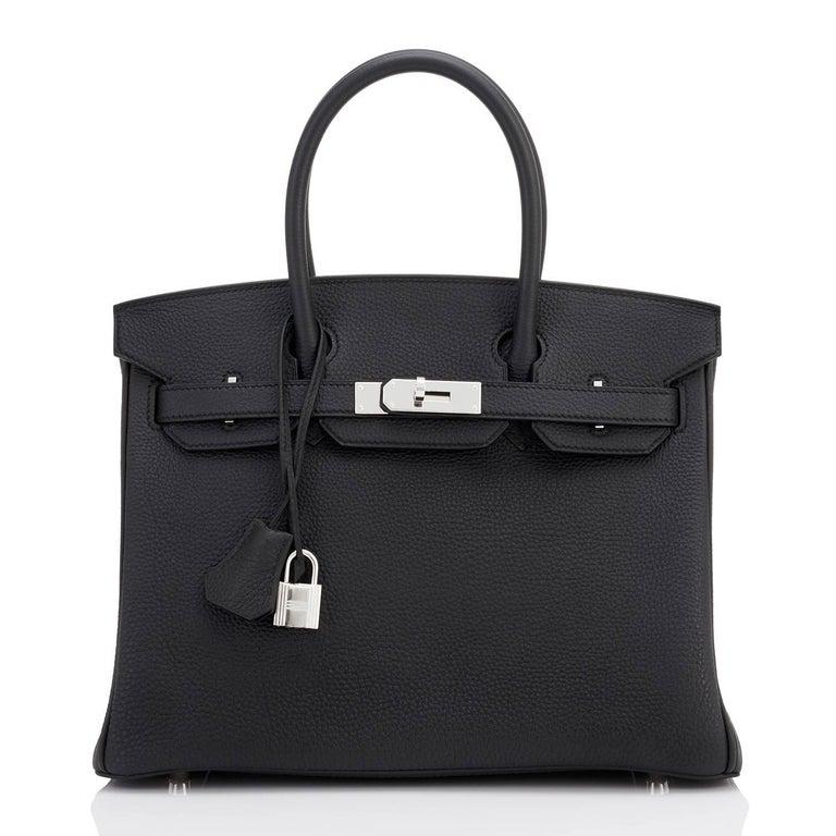 Hermes Birkin 30 Black Togo Palladium Hardware Bag A Stamp In New Condition In New York, NY