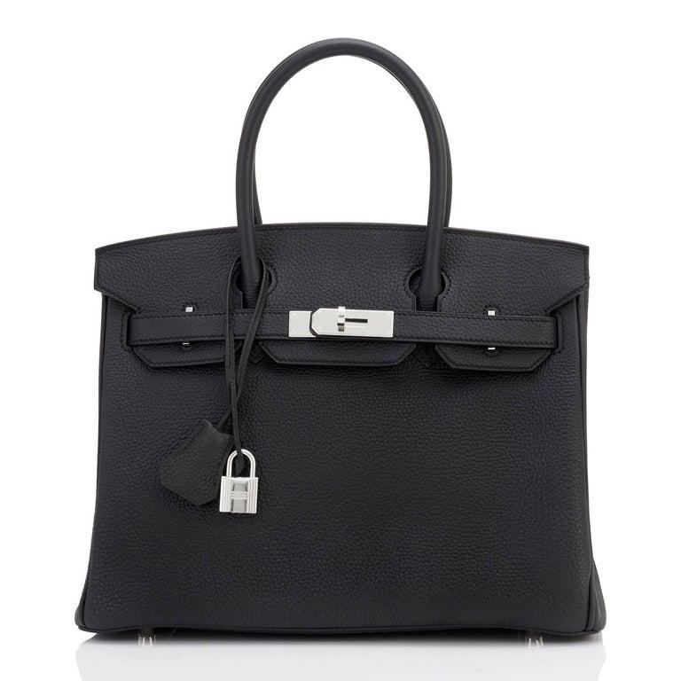 Women's or Men's Hermes Birkin 30 Black Togo Palladium Hardware Bag A Stamp