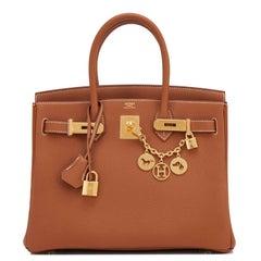 Hermes Birkin 30cm Gold Camel Tan Togo Gold Hardware Bag A Stamp