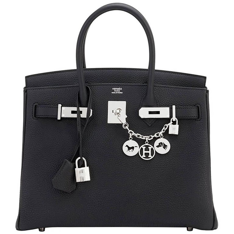 Hermes Black 30cm Togo Palladium Hardware A Stamp Birkin Bag