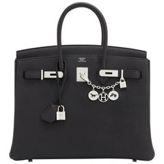 Hermes 35cm Black Togo Palladium Hardware C Stamp Birkin Bag