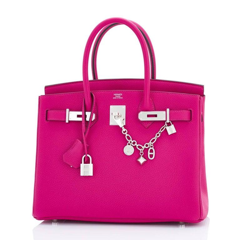 00c7587bc14 Hermes Rose Pourpre 30cm Birkin Pink Togo Palladium Hardware Brand New in  Box. Store fresh