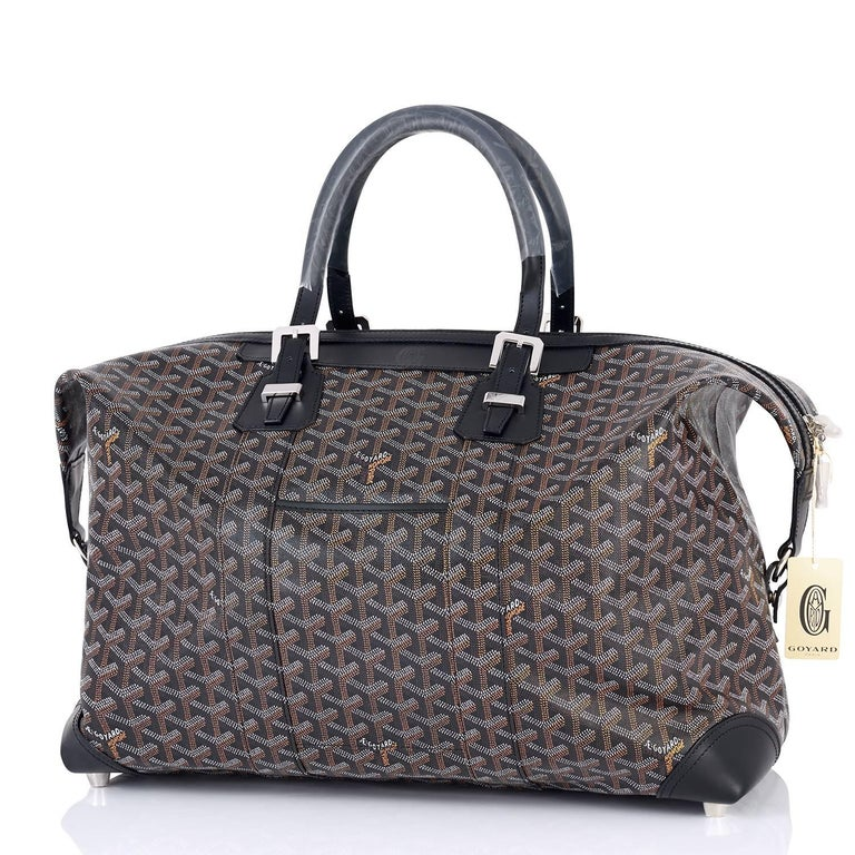 Women's or Men's Goyard Boeing 45 Duffle Luggage Tote Black Chevron Bag  For Sale