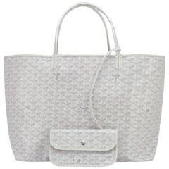Goyard White St Louis GM Chevron Leather Canvas Tote Bag