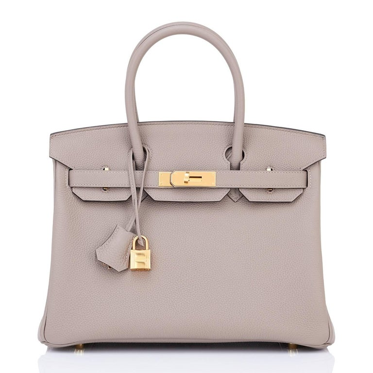 Hermes Birkin 30 Gris Asphalte Dove Grey Togo Birkin Gold Hardware A Stamp In New Condition In New York, NY