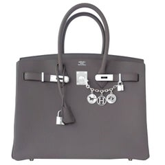 "Hermes Etain 35cm Togo ""Tin Grey"" Palladium Hardware A Stamp Birkin Bag"