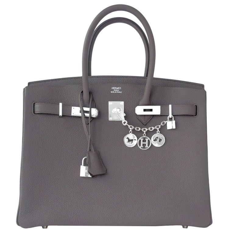 "Hermes Etain 35cm Togo ""Tin Grey"" Palladium Hardware A Stamp Birkin Bag"