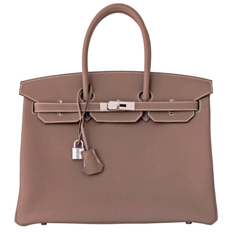 Hermes 35cm Etoupe Togo Palladium 2018 C Stamp Birkin bag For Sale at  1stdibs 0f4a8e3578e08