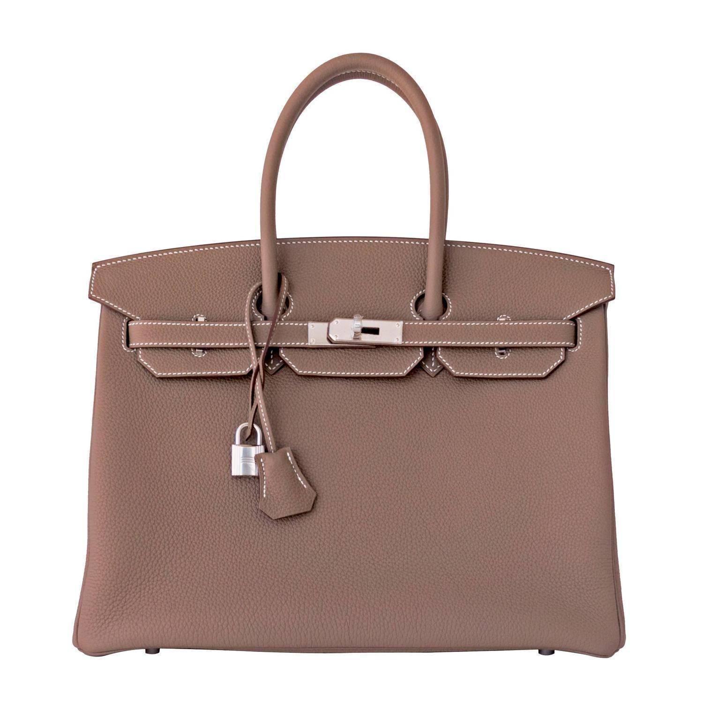 eaf8858df18c Hermes 35cm Etoupe Togo Palladium 2018 C Stamp Birkin bag For Sale at  1stdibs