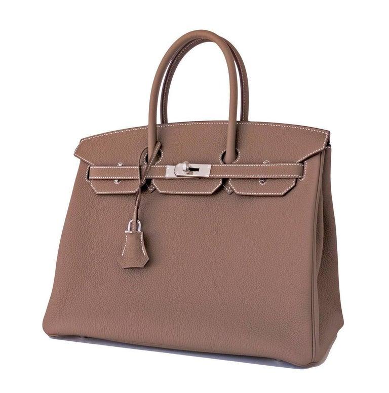 e514e36ad773 Hermes 35cm Etoupe Togo Palladium 2018 C Stamp Birkin bag In New Condition  For Sale In