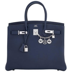 "Hermes Blue Nuit ""Verso"" Rose Pourpre 35cm VIP Limited Edition Birkin bag"