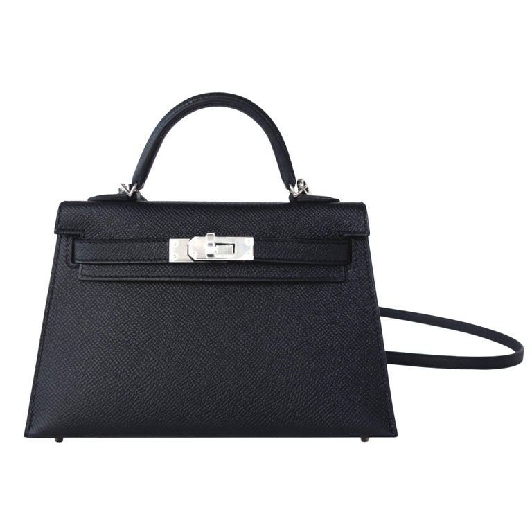 Hermes 20cm Black Epsom Mini Sellier Palladium VIP Kelly Bag
