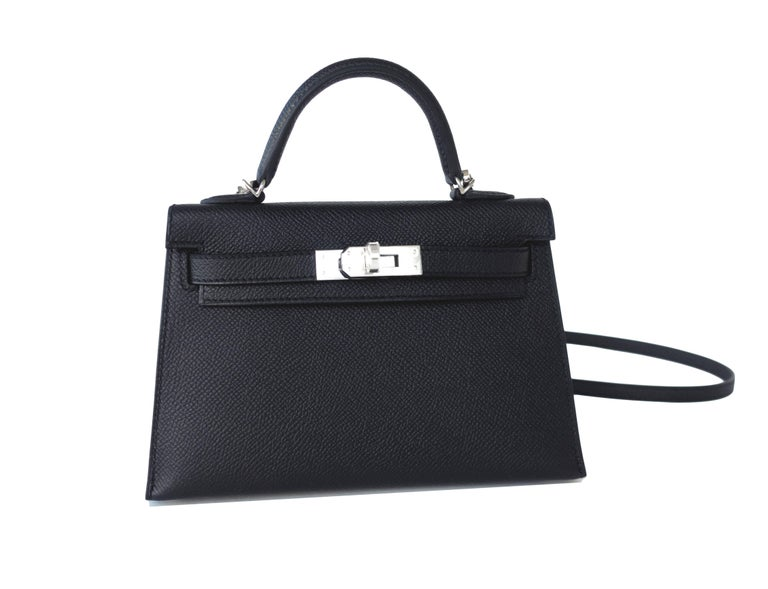 Ultra Limited Hermes 20cm Black Epsom Mini Sellier Kelly Palladium VIP Brand New in Box.  Store Fresh.  Pristine Condition (with plastic on hardware) Just purchased from Hermes store in 2018.  Perfect gift!  Comes full set with shoulder strap,