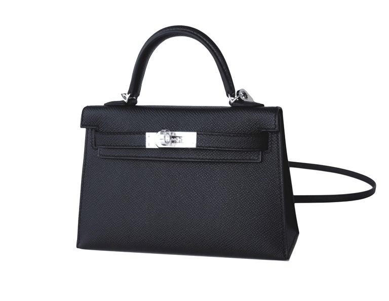 Women's Hermes 20cm Black Epsom Mini Sellier Palladium VIP Kelly Bag For Sale