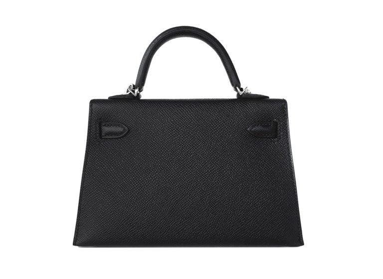 Hermes 20cm Black Epsom Mini Sellier Palladium VIP Kelly Bag For Sale 1
