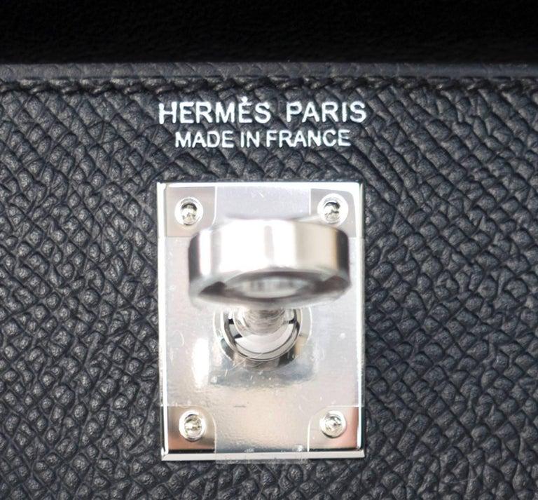Hermes 20cm Black Epsom Mini Sellier Palladium VIP Kelly Bag For Sale 3