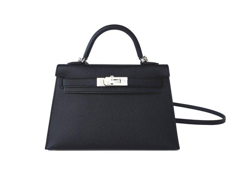 Hermes 20cm Black Epsom Mini Sellier Palladium VIP Kelly Bag For Sale 6