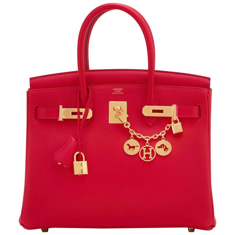Hermes 30cm Rouge Casaque Red Clemence Gold Hardware Birkin Bag