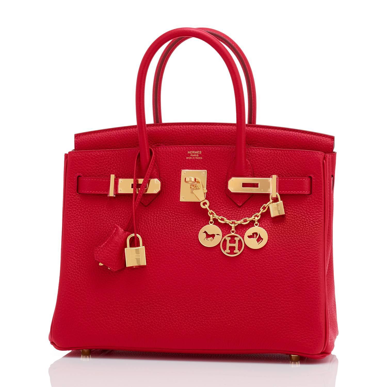1166805d192 Hermes 30cm Rouge Casaque Red Clemence Gold Hardware Birkin Bag For Sale at  1stdibs
