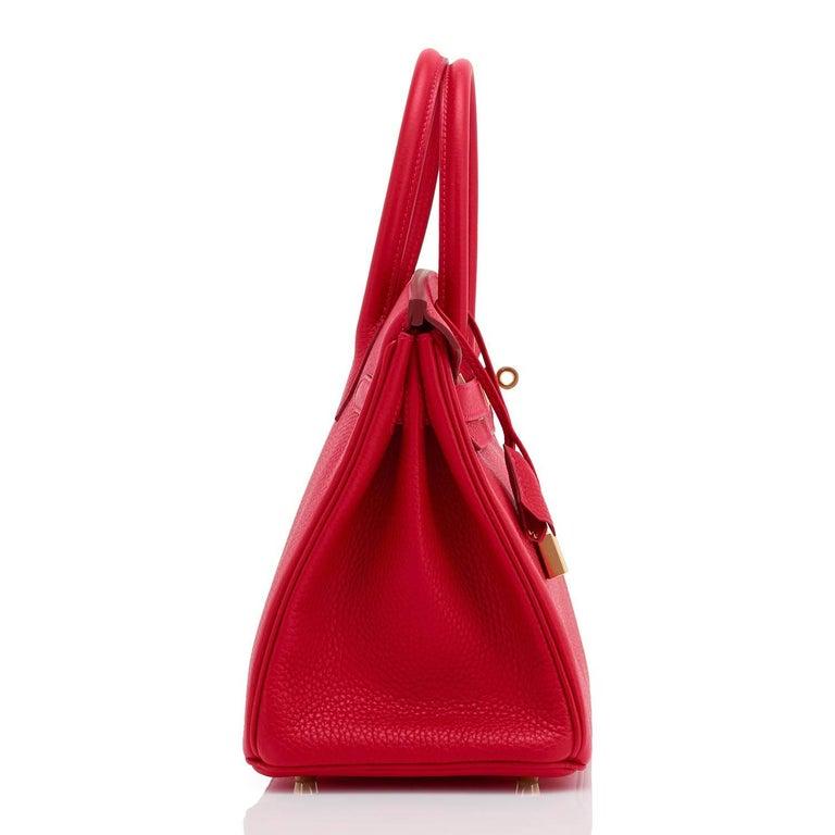 41f1278a26 Hermes 30cm Rouge Casaque Red Clemence Gold Hardware Birkin Bag For Sale 2