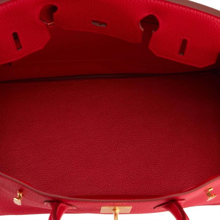 c53079cda9 Hermes 30cm Rouge Casaque Red Clemence Gold Hardware Birkin Bag For Sale 4