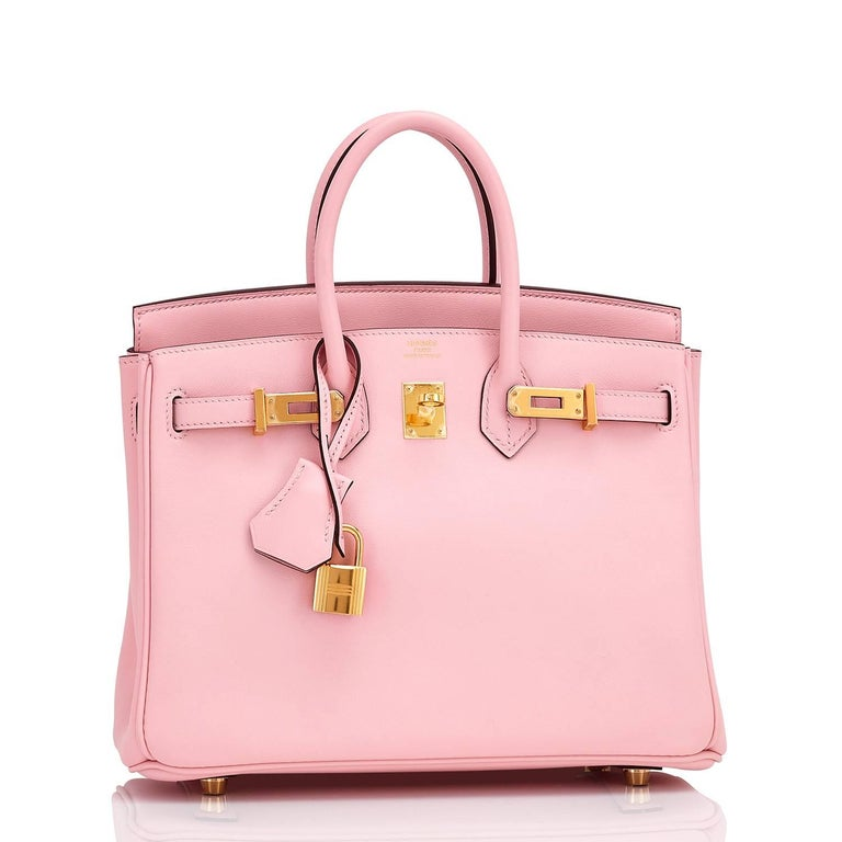 Hermes Rose Sakura Baby Birkin 25cm Swift Gold Hardware Jewel New or Never Worn.  Pristine Condition (with plastic on hardware)  Perfect gift! Comes in full set with clochette, lock, keys, raincoat, dust bag, Hermes box and ribbon. This darling Rose
