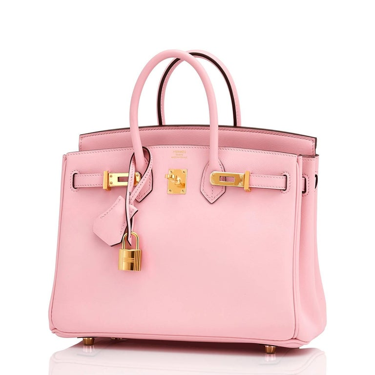 Hermes Swift Gold Hardware Pink Jewel Birkin 25 Rose Sakura Bag  In New Condition For Sale In New York, NY