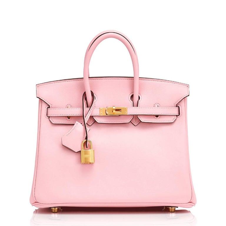 Women's Hermes Swift Gold Hardware Pink Jewel Birkin 25 Rose Sakura Bag  For Sale